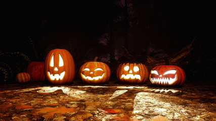 A few various funny Jack-o-lantern carved halloween pumpkins in haunted autumn forest at dark mystical night. Fall season festive 3D illustration.