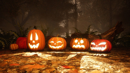 A few various funny Jack-o-lantern carved halloween pumpkins in haunted autumn forest at foggy dusk or night. Fall season festive 3D illustration.