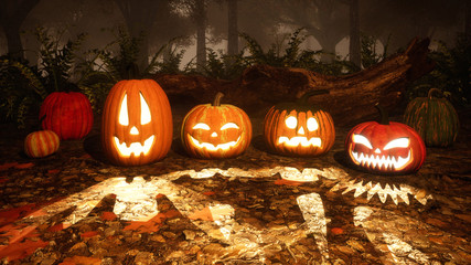 Close up of various funny Jack-o-lantern carved halloween pumpkins on a ground covered by fallen autumn leaves in misty forest at dusk or night. 3D illustration.