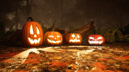 A few various Jack-o-lantern carved halloween pumpkins on a ground covered by fallen autumnal leaves in misty autumn forest at dusk or night. 3D illustration.