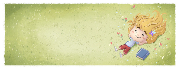 niña feliz tumbada en el campo