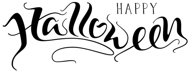 Happy Halloween handwritten lettering text for greeting card