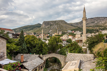 Crooked Bridge, an oldest single-arch stone bridge in Mostar, it was built in 1558 as a proof of concept and represents the miniature version of the Mostar's Old Bridge