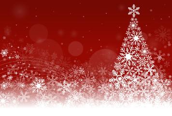 クリスマスカード背景:ツリー/レッド