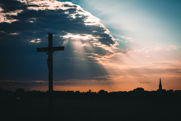 Christ cross sunset