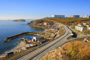 Autumn landscape of Vladivostok. Russia.