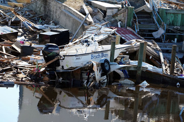 A destroyed boat is pictured following Hurricane Michael in Mexico Beach
