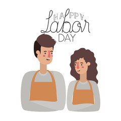couple with apron celebrating the work day avatar character