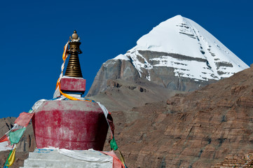 Mt. Kailash the sacred mountain with a monastery in the foreground