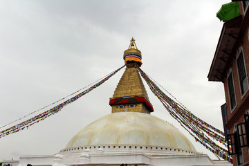The giant magnificent stupa of Boudhanath in Kathmandu