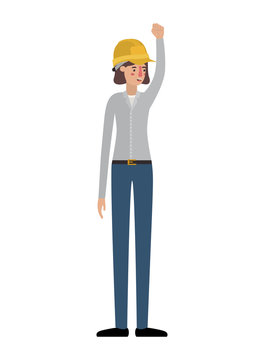 young woman construction with hand up avatar character