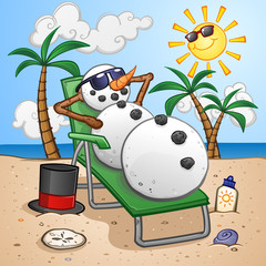 Snowman Cartoon Character on Vacation in the Tropics and Relaxing on a Beach Chair