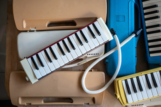 Old colorful Melodion with plastic hard case