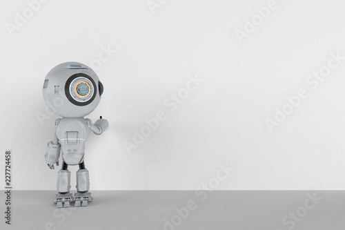 Mini Robot With Blank Board Stock Photo And Royalty Free Images On