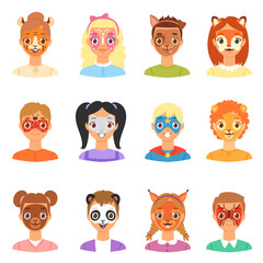 Face paint kids vector children portrait with facial painted makeup and girl or boy character with colorful animalistic facepaint cat dog for party illustration set isolated on white background