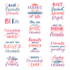 Friend lettering vector friendship card typography and friendly calligraphy logotype design with text sign illustration handwritten set of friendliness quote on poster isolated on white background