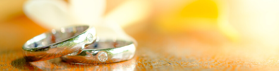 White Gold wedding rings on a wooden background
