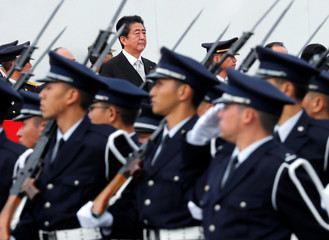 Japanese PM Abe reviews SDF troops in Asaka