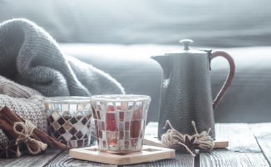 Still life with home decor, the concept of home comfort