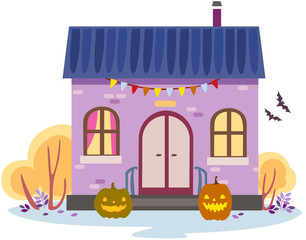 vector illustration of an autumn house decorated for halloween