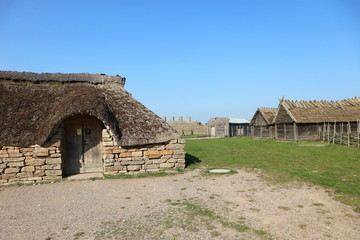 Medieval village in viking ring castle Eketorp, Oland, Sweden
