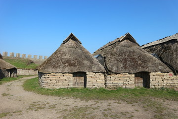 Medieval houses in viking ring castle Eketorp, Oland, Sweden