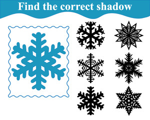 Find the correct shadow of snowflake. Education. Vector illustration.