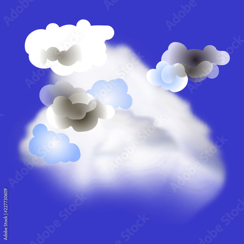 Realistic and cartoon clouds in the blue sky