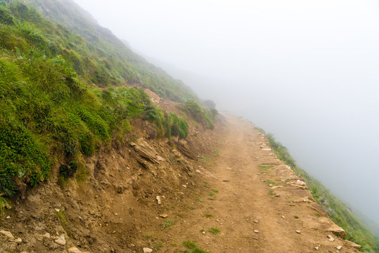 Foggy trekking path in Annapurna Conservation Area, Nepal