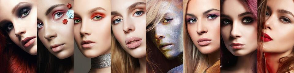 beauty collage. women. Makeup, beautiful girls