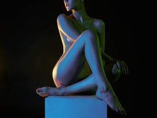 Nude Woman in Colorful bright lights