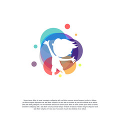 Colorful Kids Play logo vector, Children logo designs template, design concept, logo, logotype element for template