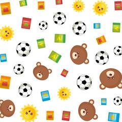 cute bears teddy and blocks pattern