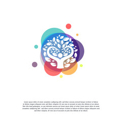 Colorful People Tree logo vector, Leaf logo designs template, design concept, logo, logotype element for template