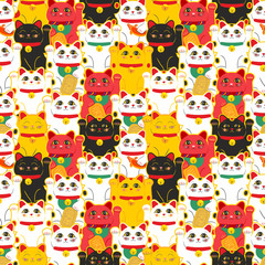 Maneki-neko cat. Seamless pattern with sitting hand drawn lucky cats. Japanese culture. Doodle drawing. Vector illustration - swatch inside