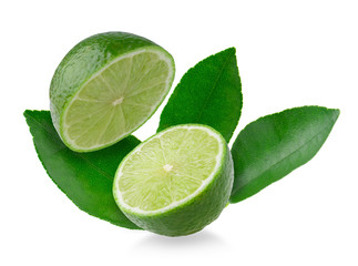 Half with slice of fresh green lime isolated on white background