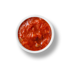 cup of Tomato sauce isolated on white, view from above