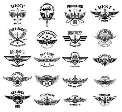 Set of vintage airplane emblems. Design elements for logo, label, sign, menu.