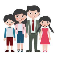 Parents daughter and son cartoon design