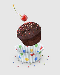 Sweet dessert Cake, cupcake. 3d Illustration isolated gray