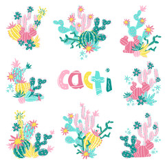 Collection of hand drawn cactus bouquets. Bright exotic succulen