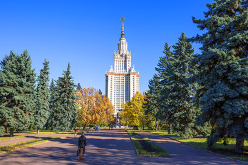Moscow, Russia, MSU Building. M. V. Lomonosov. It is a leading, one of the oldest and largest classical universities in Russia, one of the centers of Russian science and culture.