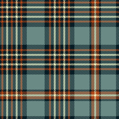Plaid pattern in grayish blue, sienna red, blackish navy and cream
