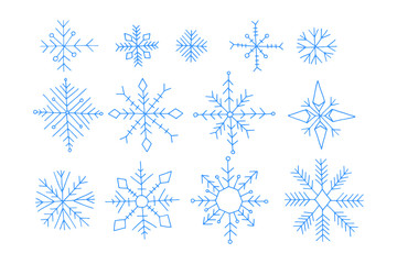 Set of winter snowflakes, doodle cartoon vector illustration