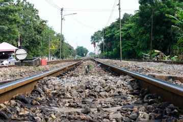 The railway is a freight and passenger route. The train is a vehicle. The rails consist of two rails. Usually made of steel. Placed on objects perpendicular to the rails.