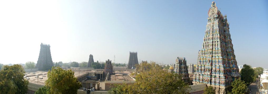Meenakshi hindu temple in Madurai, Tamil Nadu, South India. Panorama