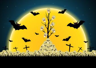 Halloween skull tree pile cross bat moon vector