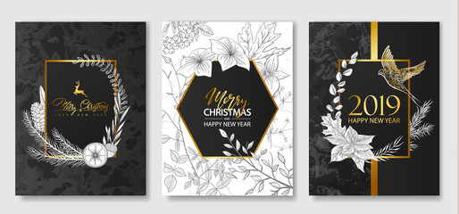 2019 Merry Christmas and Happy New Year Luxury cards collection with marble texture,Golden geometric frames and hand-drawn plants .Vector trendy background.