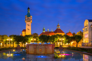 Lighthouse by the Baltic pier in Sopot at dusk, Poland
