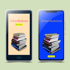 Online bookstore with smartphone.